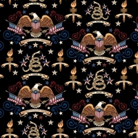 Picture of Home of the Brave Patriotic Eagles and Icons USA Black Cotton Fabric