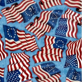 Home of the Brave American Flags Through History Blue Cotton Fabric