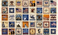 Picture of Home of the Brave Patriotic Military Patch Beige 24x44 Fabric Panel