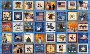 Picture of Home of the Brave Patriotic Military Patch Blue 24x44 Fabric Panel
