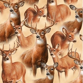Picture of Deer Mountain Packed Deer Buck Doe Hautman Tan Cotton Fabric