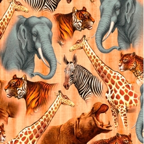 Out of Africa Safari Animals Packed Hippo Zebra Giraffe Cotton Fabric