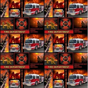 Firefighters Save Hearts and Homes Fire Dept Fireman Cotton Fabric