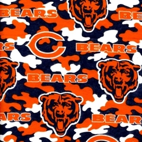 Flannel NFL Football Chicago Bears Camo OOP 18x29 Cotton Fabric