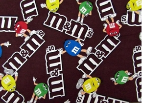Picture of M and M Logo M&M Candy Logos Brown Cotton Fabric