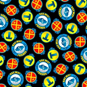 Fast Friends Thomas the Tank Engine Railroad Icons Black Cotton Fabric