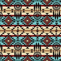Picture of Native Spirit Dream Catcher Southwestern Turquoise Cotton Fabric