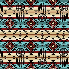 Native Spirit Dream Catcher Southwestern Turquoise Cotton Fabric