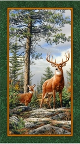 Deer Mountain Buck and Doe Mountain Top 24x44 Cotton Fabric Panel