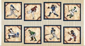 Picture of Grand Slam Baseball Player Large Block 24x44 Beige Cotton Fabric Panel