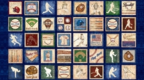 Grand Slam Baseball Motif Patch 24x44 Blue Cotton Fabric Panel