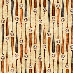 Picture of Grand Slam Baseball Bats and Balls in Rows Beige Cotton Fabric