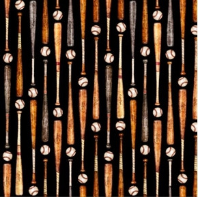 Picture of Grand Slam Baseball Bats and Balls in Rows Black Cotton Fabric