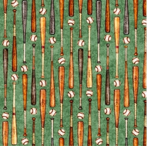 Grand Slam Baseball Bats and Balls in Rows Green Cotton Fabric