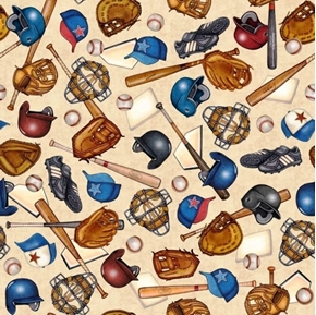Picture of Grand Slam Baseball Equipment Mits Helmets Bats Beige Cotton Fabric