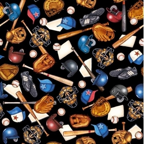 Grand Slam Baseball Equipment Mits Helmets Bats Black Cotton Fabric
