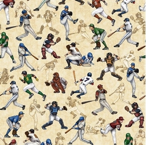 Grand Slam Baseball Players Catcher Batter Fielder Beige Cotton Fabric