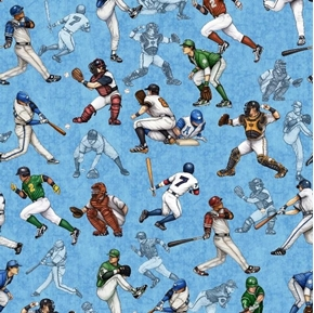 Grand Slam Baseball Players Catcher Batter Fielder Blue Cotton Fabric