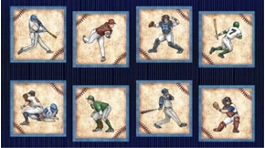 Picture of Grand Slam Baseball Player Large Block 24x44 Blue Cotton Fabric Panel