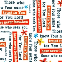 Picture of Trust in You Psalm 9:10 Religious Psalms White Cotton Fabric