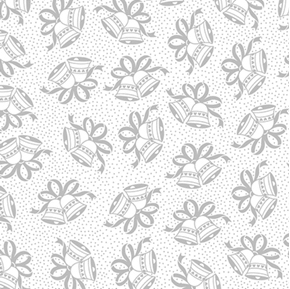 Something Old Something New Wedding Bells Grey on White Cotton Fabric