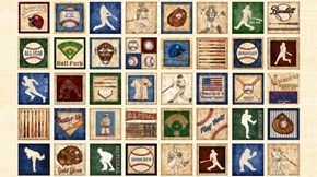 Grand Slam Baseball Motif Patch 24x44 Beige Cotton Fabric Panel
