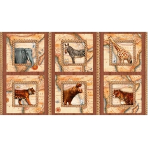 Out of Africa Safari Animal Blocks 24x44 Cotton Fabric Panel