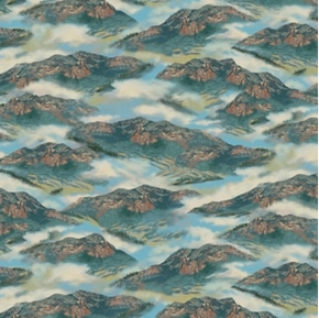 Whitetail Ridge Blue and Gold Mountains in the Clouds Cotton Fabric