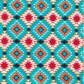 Native Spirit Native Argyle Southwestern Aztec Turquoise Cotton Fabric