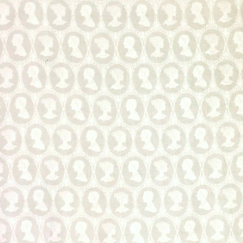 Something Old Something New Bride Groom Cameo Grey White Cotton Fabric
