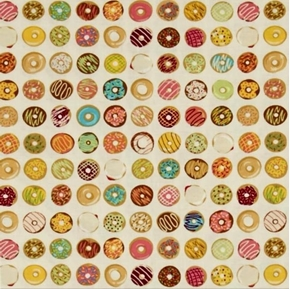 Caf-Fiend Doughnuts Tiny Glazed Donuts Beige Cotton Fabric