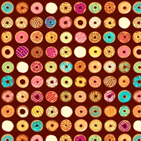 Caf-Fiend Doughnuts Tiny Glazed Donuts Brown Cotton Fabric