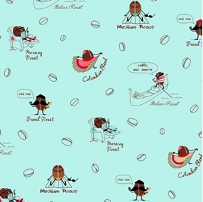 Picture of Caf-Fiend Funny Coffee Beans French Roast Oui Oui Aqua Cotton Fabric