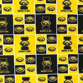 Picture of University of Iowa Hawkeyes Block College Print Cotton Fabric