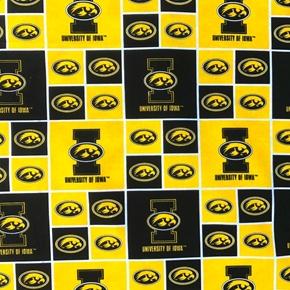 University of Iowa Hawkeyes Block College Print Cotton Fabric