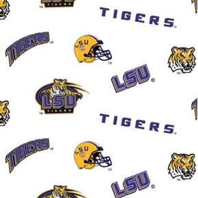 Picture of LSU Louisiana State University Tigers College Print Cotton Fabric