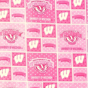 University of Wisconsin Badgers Pink Block College Print Cotton Fabric
