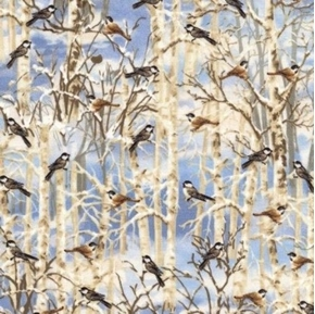 Winter Birds on Snowy Branches Chickadee Birch Trees Cotton Fabric