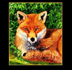 Picture of Red Foxes Large Red Fox in the Wild 20x23 Cotton Fabric Pillow Panel
