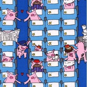 Funny Pigs on Planes Pigs Travel Like People Cotton Fabric
