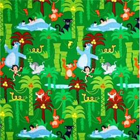 Disney Junglebook Scenic Jungle Book Classic Green Cotton Fabric