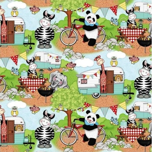 Picture of Bazooples Campout Scenic Animals Camping Camper Cotton Fabric