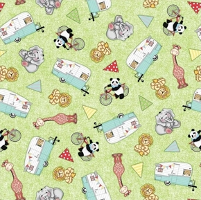 Bazooples Campout Toss Campers Animals Camping Cotton Fabric