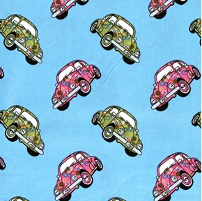 Volkswagen Beetle VW Bug Hippy Peace Love Cars Blue Cotton Fabric