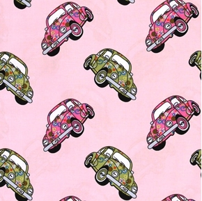 Volkswagen Beetle VW Bug Hippy Peace Love Cars Pink Cotton Fabric