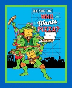 TNMT Retro Teenage Ninja Who Wants Pizza Large Cotton Fabric Panel