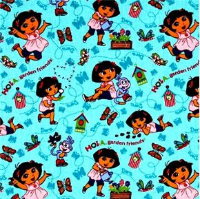 Dora the Explorer Hola Garden Friends Butterflies Aqua Cotton Fabric