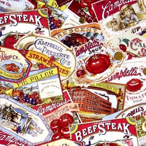 Picture of Campbells Campbell Soup Heritage Vintage Ads Labels Cotton Fabric