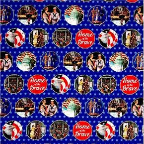 Saturday Evening Post Patriotic Home of the Brave Scenes Cotton Fabric