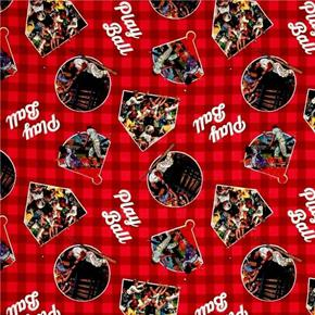 Saturday Evening Post Play Ball Baseball Red Plaid Cotton Fabric